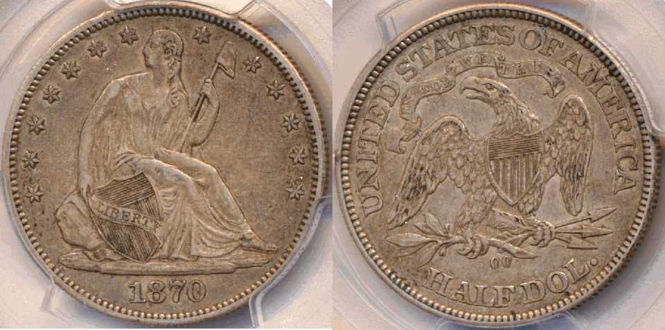 1870-CC Half PCGS AU-50